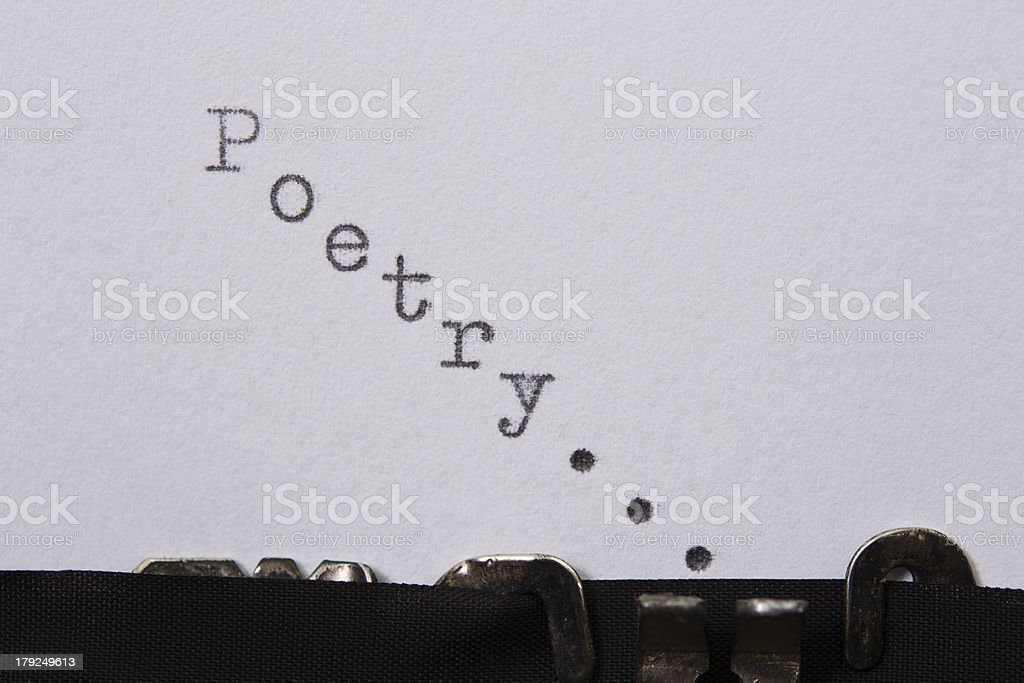 A typewriter typing Poetry in ascending order  stock photo