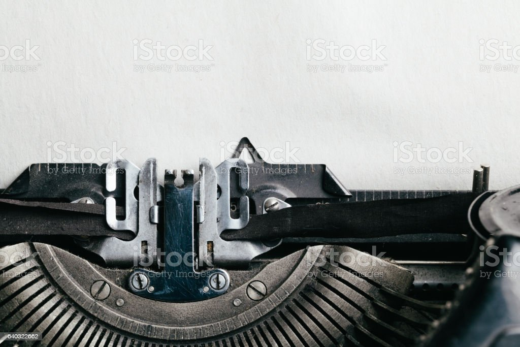 Typewriter with empty space for your text stock photo