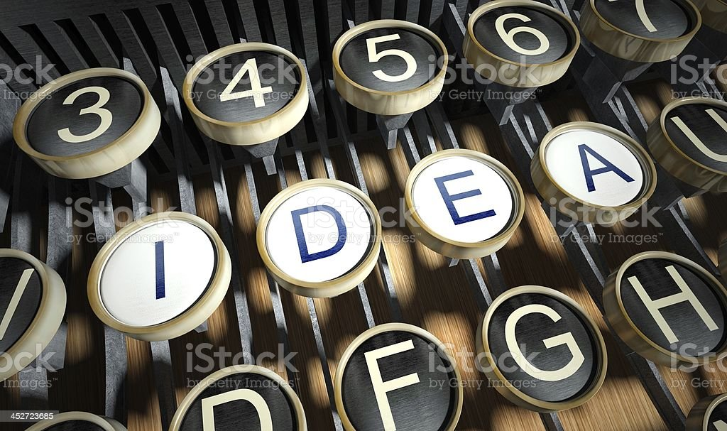Typewriter with Idea buttons, vintage royalty-free stock photo
