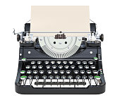 Typewriter with paper, front view. 3D rendering isolated on white background