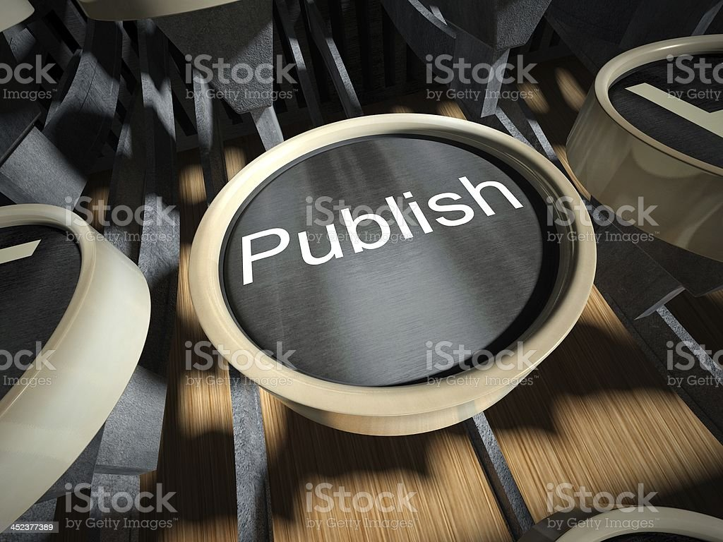 Typewriter with Publish button, vintage royalty-free stock photo