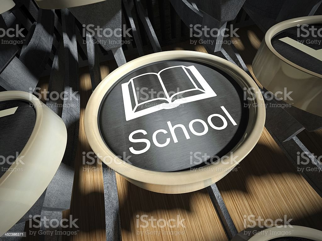 Typewriter with School button, vintage royalty-free stock photo