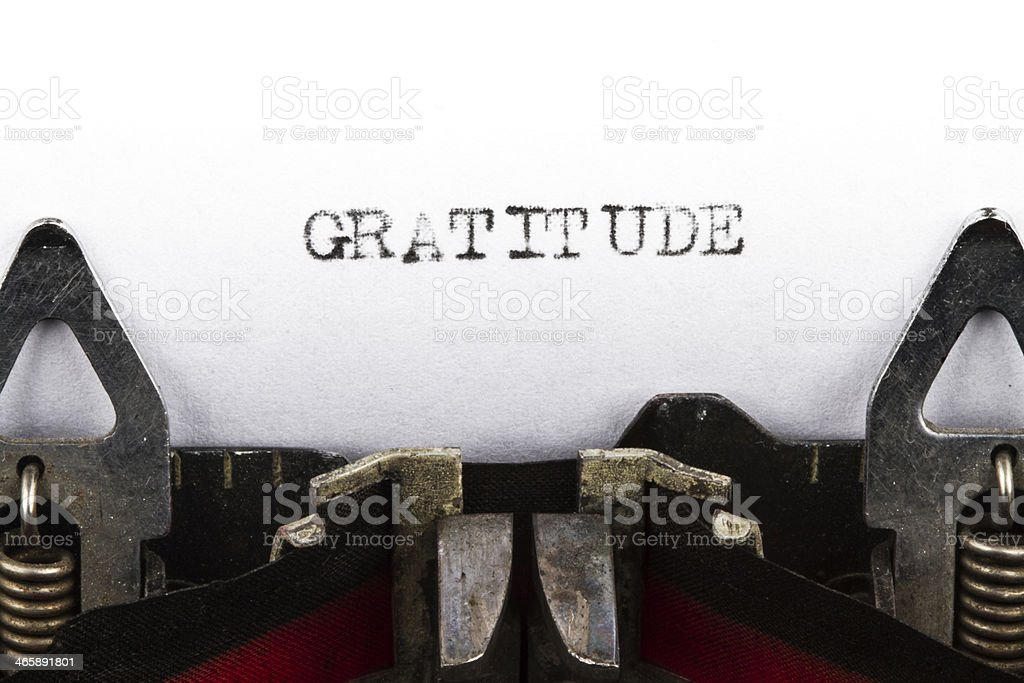 Typewriter with text gratitude stock photo