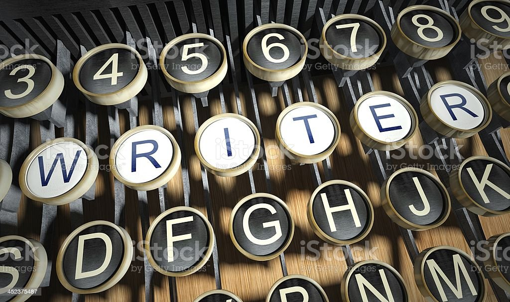 Typewriter with Writer buttons, vintage stock photo