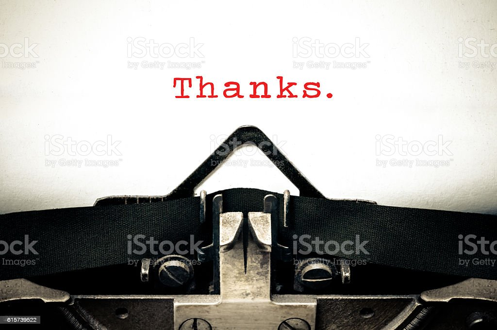 Typewritter with the word thanks stock photo