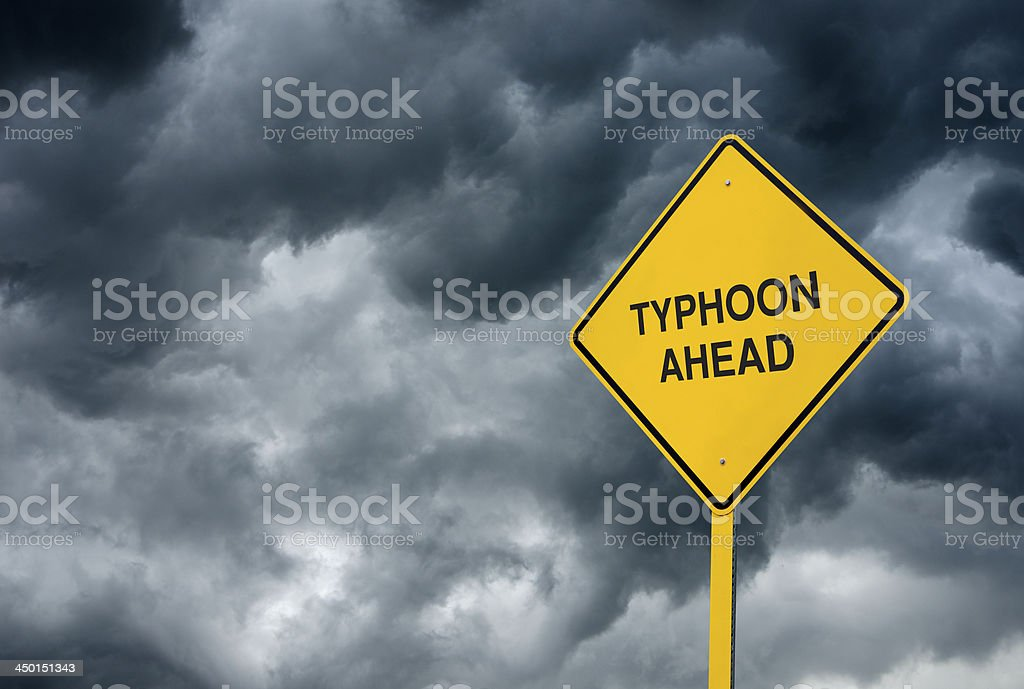 Typhoon Ahead Road Sign royalty-free stock photo