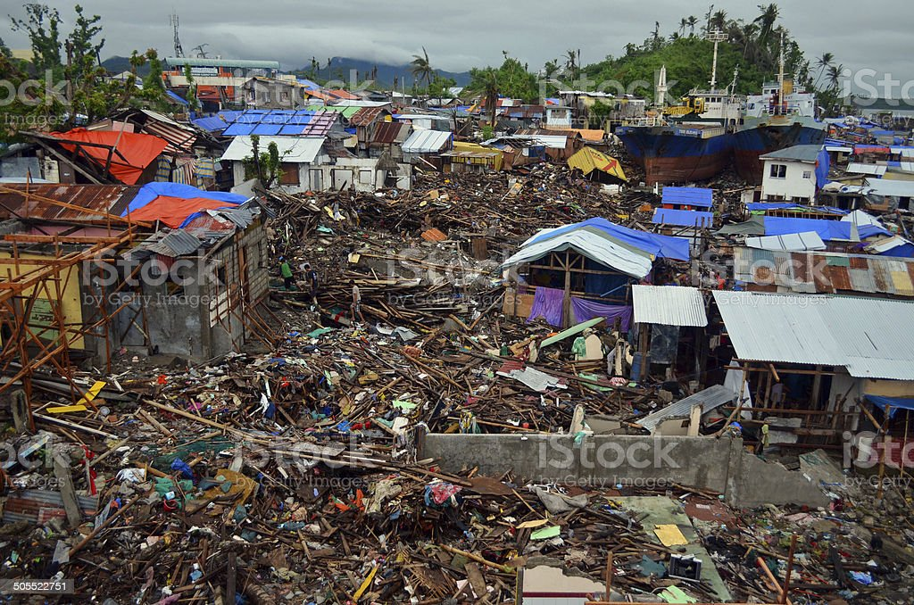 Typhoon Haiyan Damage, Tacloban stock photo