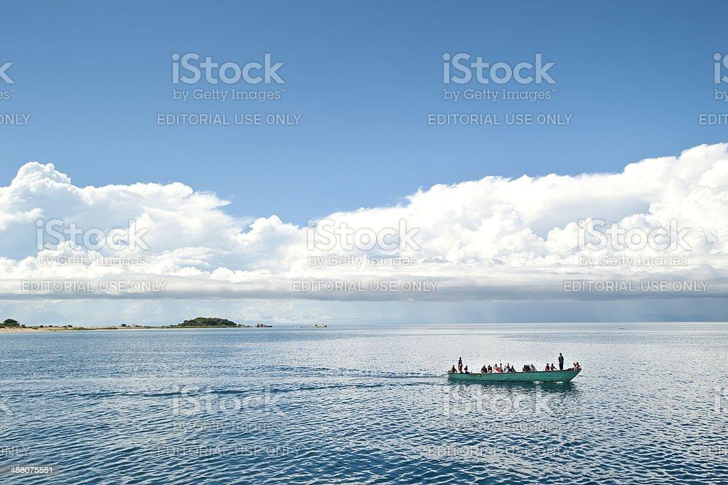 Typical African boat on Lake Tanganyika stock photo