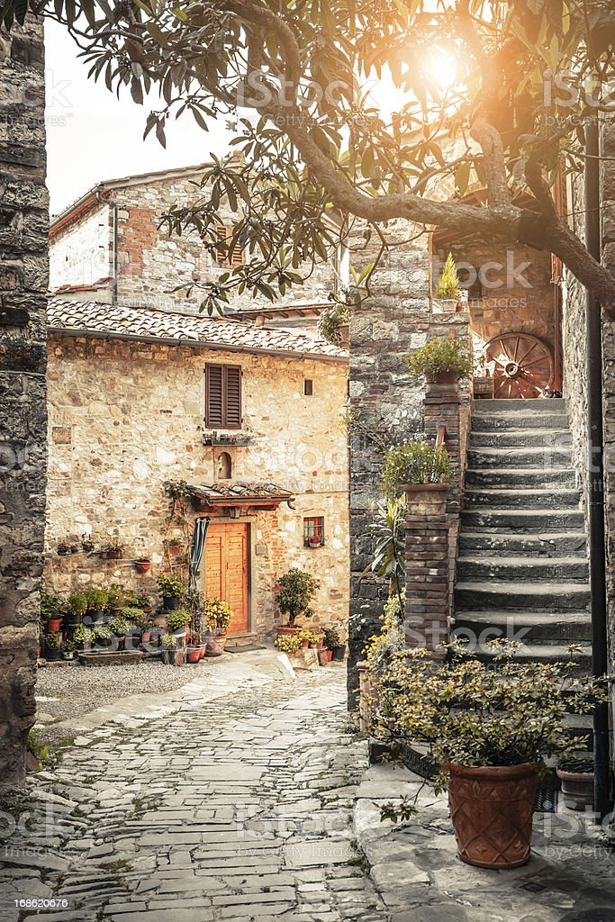 Typical Alley in Ancient Town, Italy stock photo