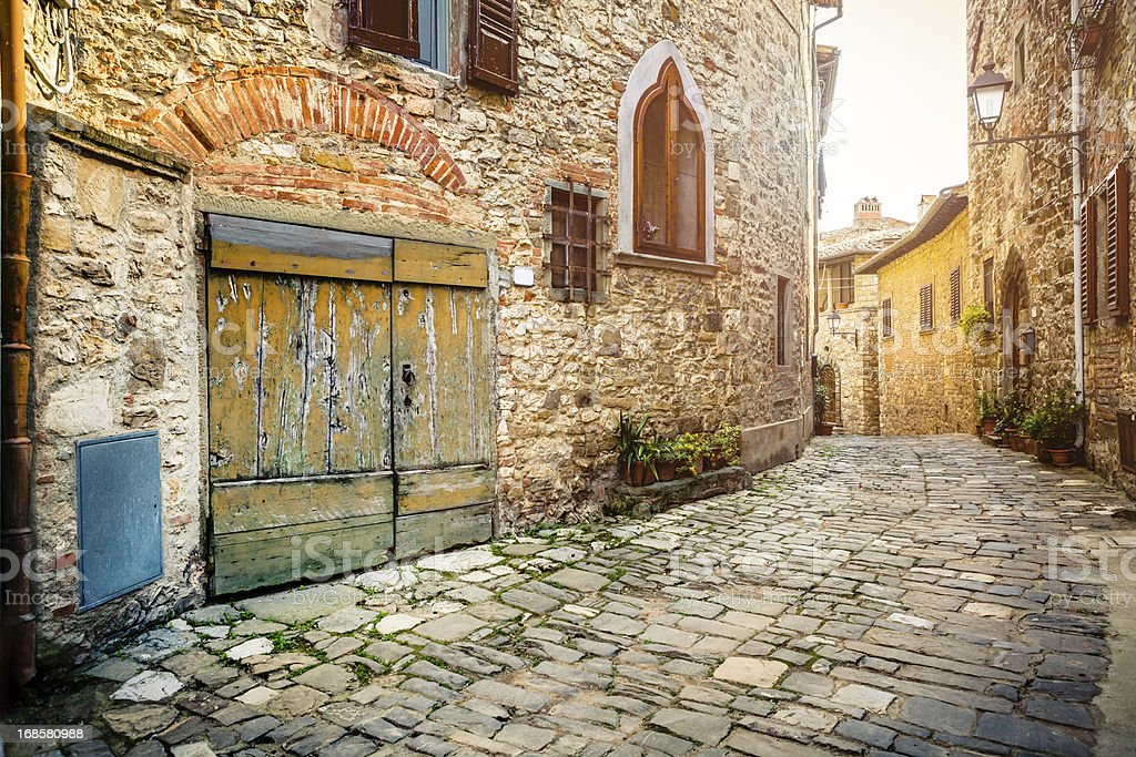 Typical Alley in Old Village, Italy stock photo