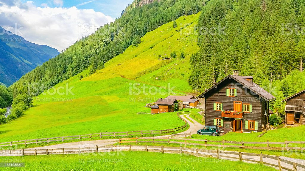 Typical alpine buildingm green meadows in Austria stock photo