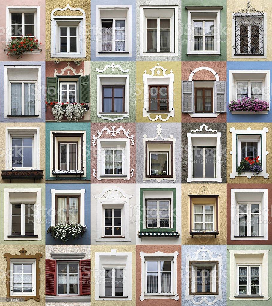 Typical alpine windows frame decorated - XXXL stock photo