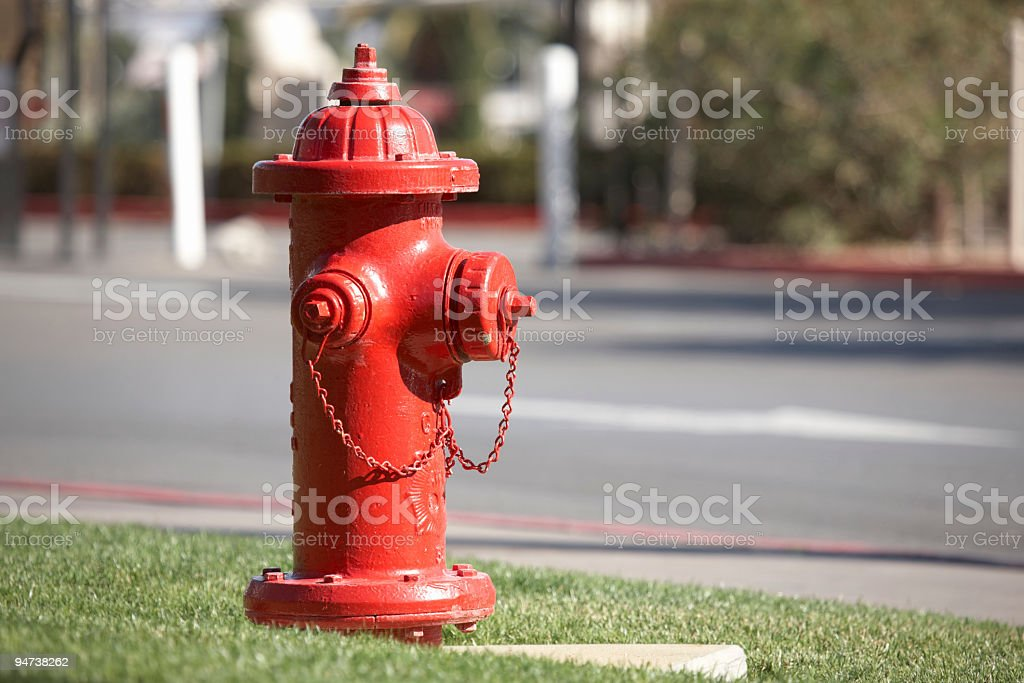 Typical american red fire hydrant stock photo
