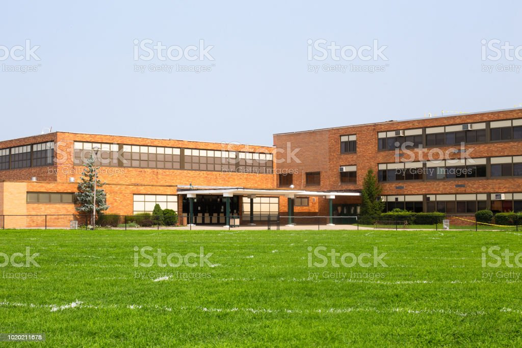typical American school building exterior royalty-free stock photo