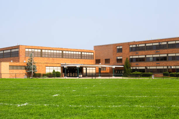 typical American school building exterior stock photo