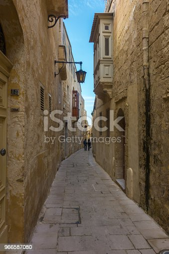 istock Typical ancient street in the citadel of Mdina, the old capital of Malta 966587080