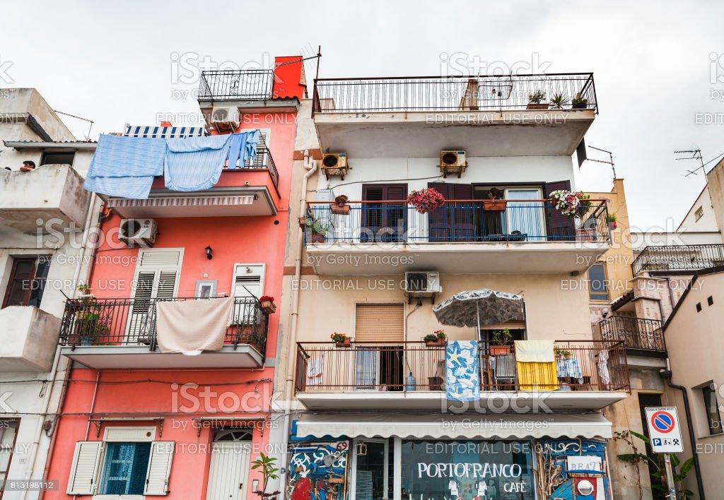 typical apartment house in Giardini Naxos town stock photo