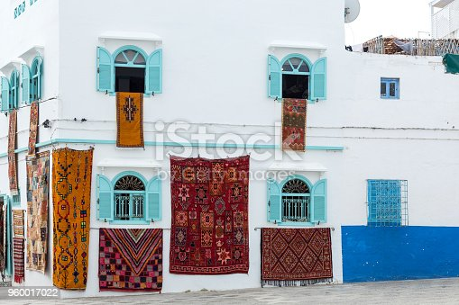 Typical arabic architecture in Asilah. Streets, doors, windows, shops.Morocco