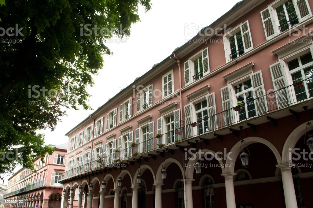 typical architecture in Mulhouse - Alsace stock photo