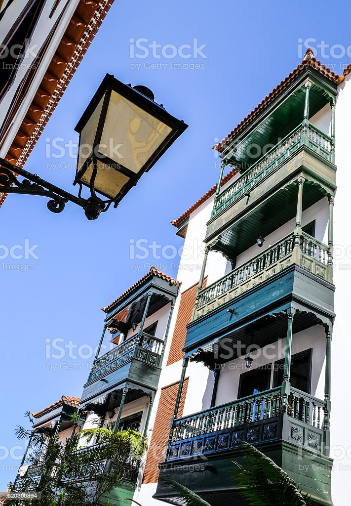 typical balcony at a spain facade - tenerife zbiór zdjęć royalty-free