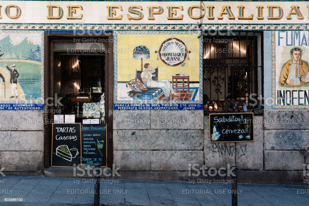 Typical bar in Malasaña district in Madrid stock photo