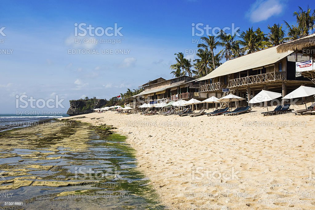 Typical bars on the beach, Bali stock photo
