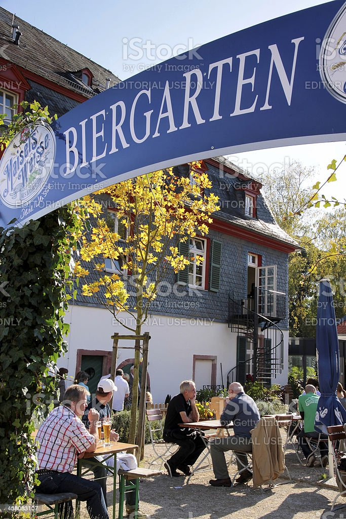 Typical Bavarian beer garden royalty-free stock photo