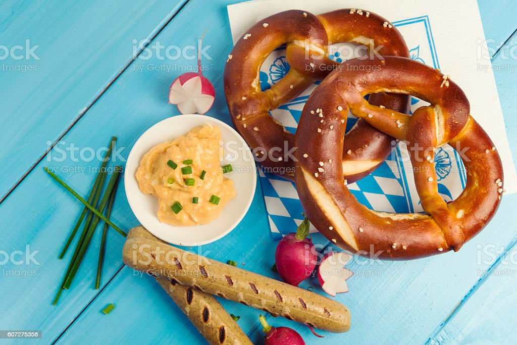 Typical bavarian lunch at Munich's Oktoberfest stock photo