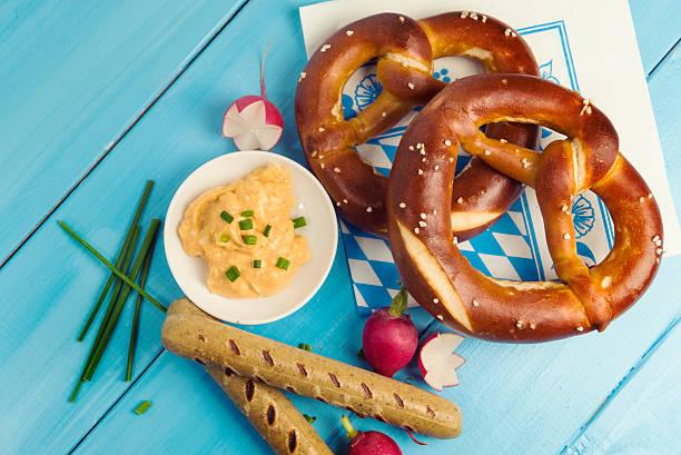Typical bavarian lunch at Munich's Oktoberfest stock photo