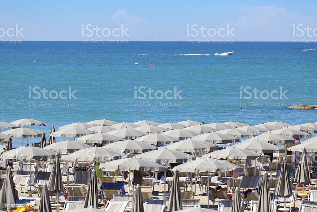 Typical Beach at the Riviera Romagnola stock photo