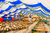 Munich, Germany - September 25: typical beertent decoration at the oktoberfest in munich on September 25, 2017