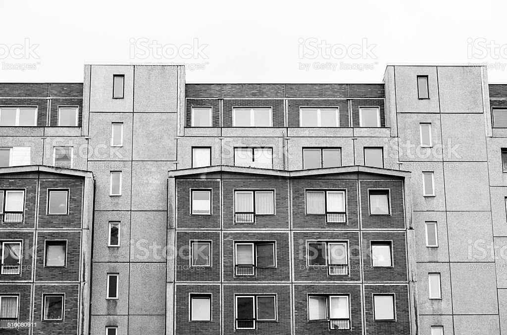 Typical block of flats in former East- Berlin stock photo