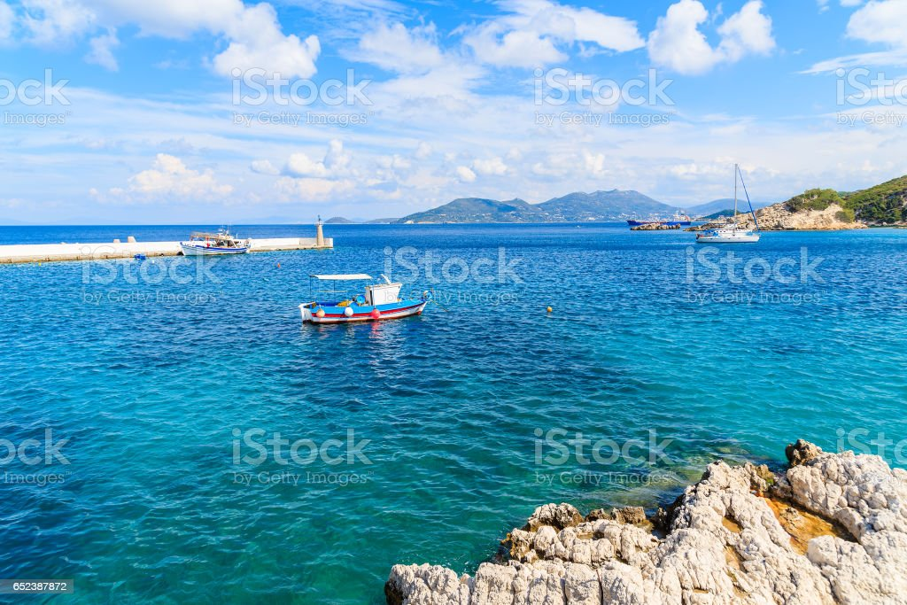 Typical Blue And White Colour Fishing Boat On Sea In Kokkari Bay Samos Island Greece Stock Photo Download Image Now Istock