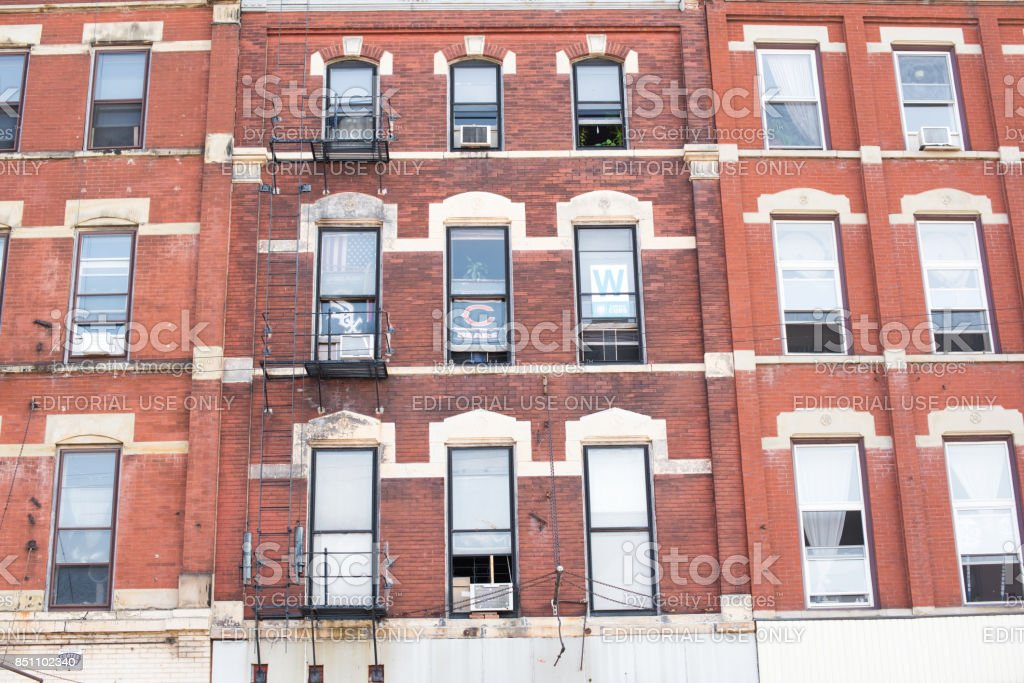 Typical brick building exterior in West Town Chicago stock photo