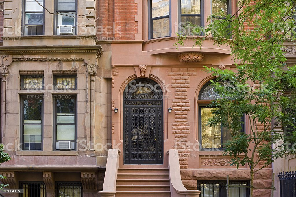 Typical Brownstone Row House, New York City stock photo
