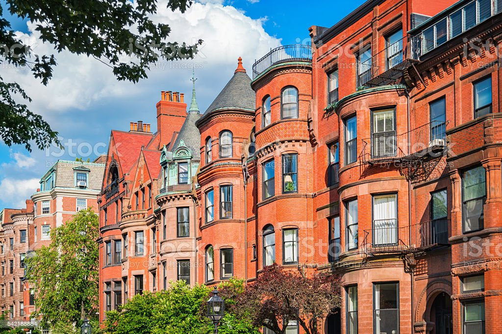 Típica Brownstone Row Houses em Back Bay de Boston, Massachusetts, EUA - foto de acervo
