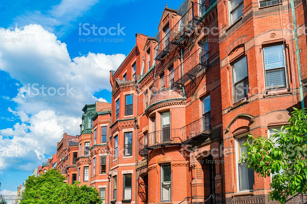 Typical Brownstone Row Houses in Back Bay Boston Massachusetts USA stock photo