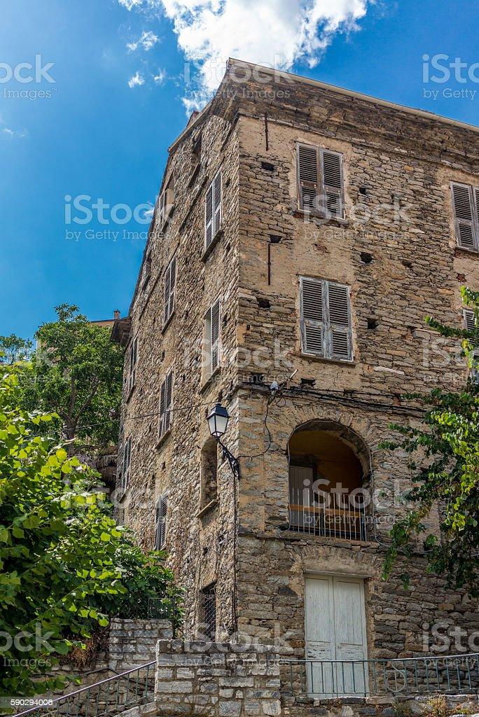 Typical building architecture in Corte in Corsica royaltyfri bildbanksbilder