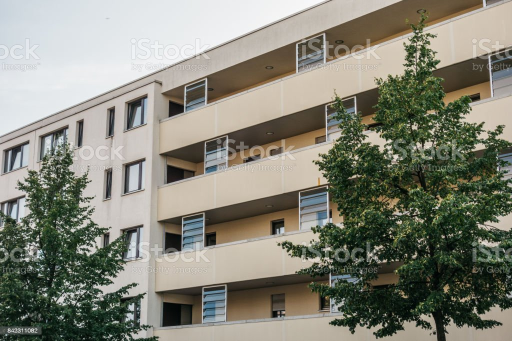 typical building in berlin with long balcony stock photo