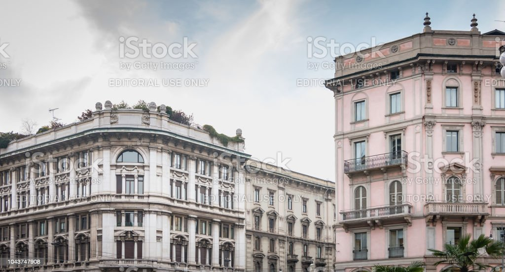 typical building of the historic center of Milan - foto stock