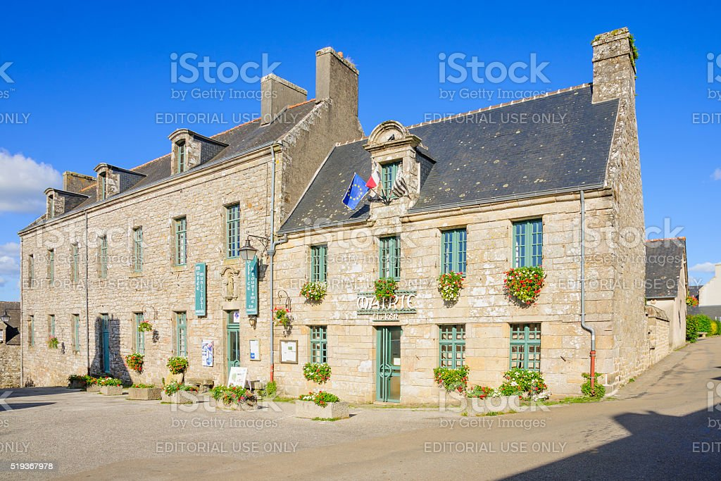 Typical buildings in Locronan stock photo