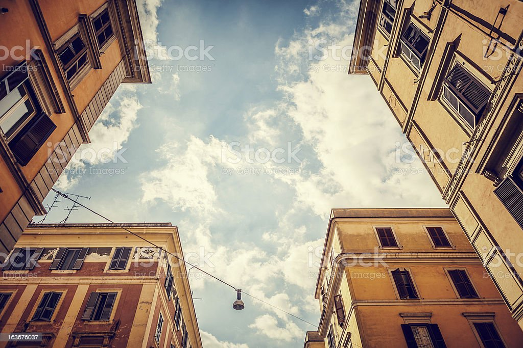 Typical buildings of Testaccio distric, Rome Testaccio is the 20th rione of Rome, deriving its name from Monte Testaccio. Adulation Stock Photo