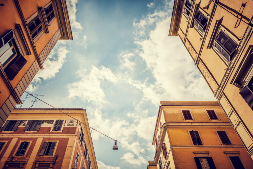 Typical Buildings Of Testaccio Distric Rome Stock Photo - Download Image Now