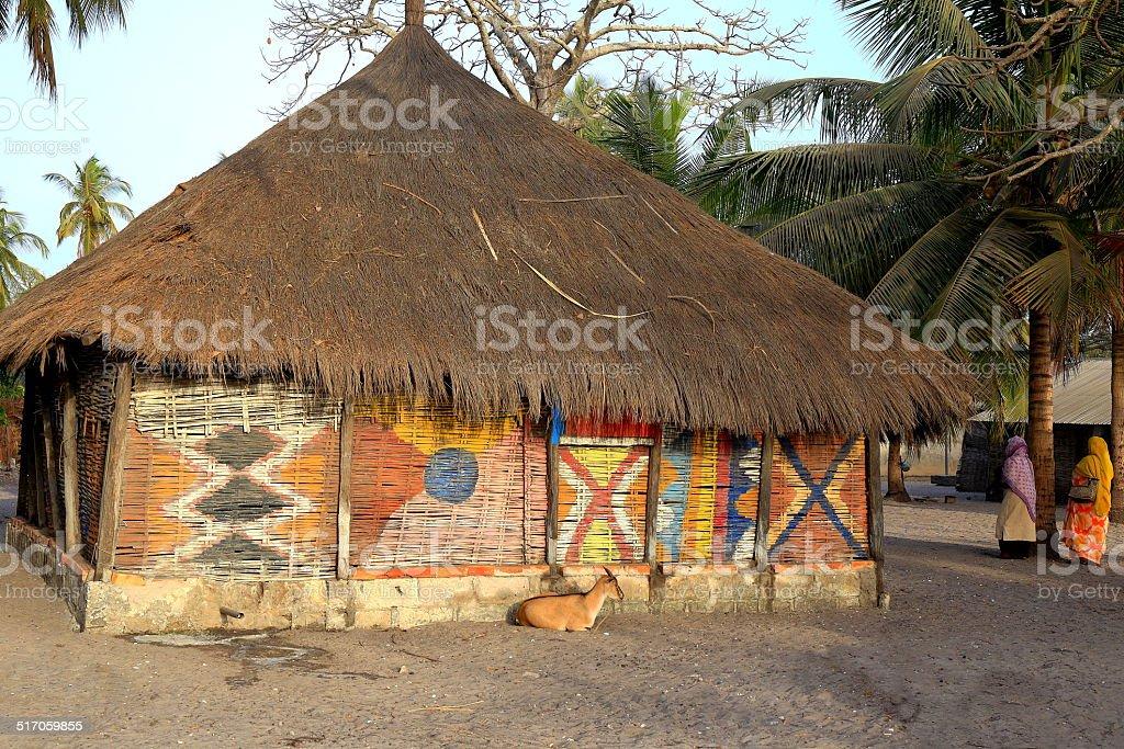 Typical cabin-Carabane-Senegal stock photo