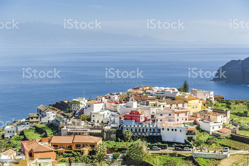 Typical Canary village on the cape of La Gomera island stock photo