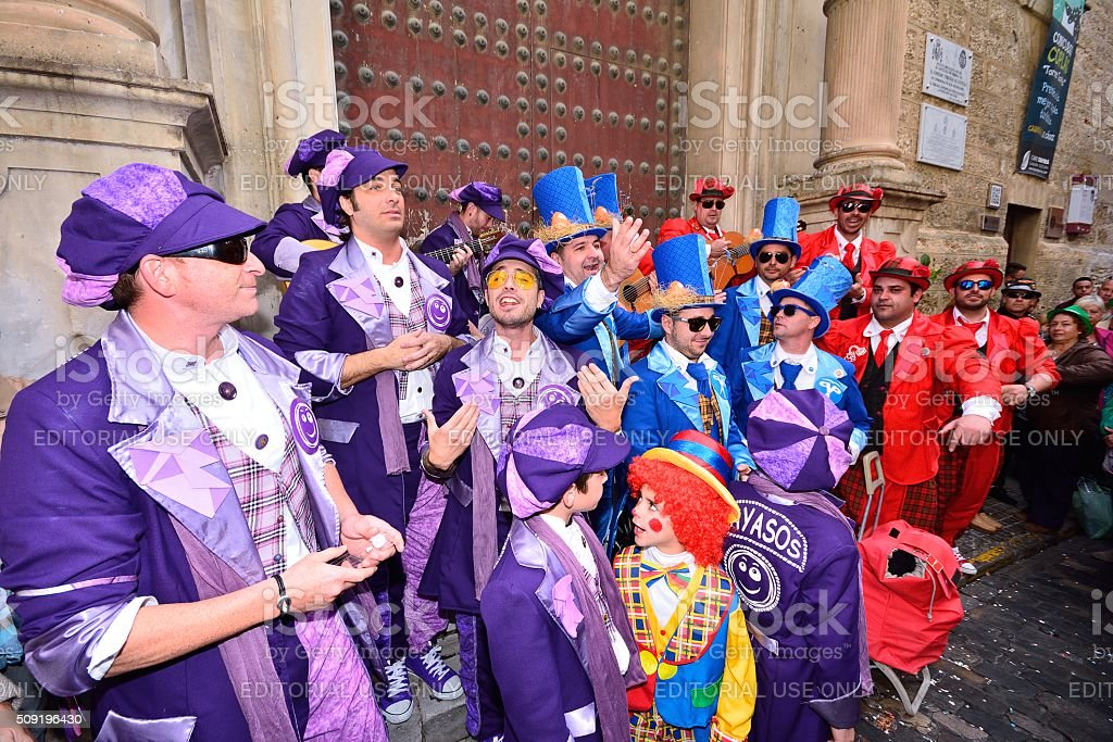Typical carnival chorus (chirigota) in Cadiz. stock photo