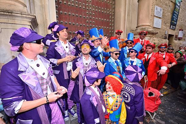 Typical carnival chorus (chirigota) in Cadiz. stock photo