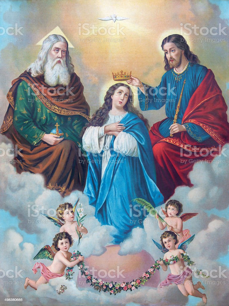 Typical catholic image of Coronation of Virgin Mary stock photo