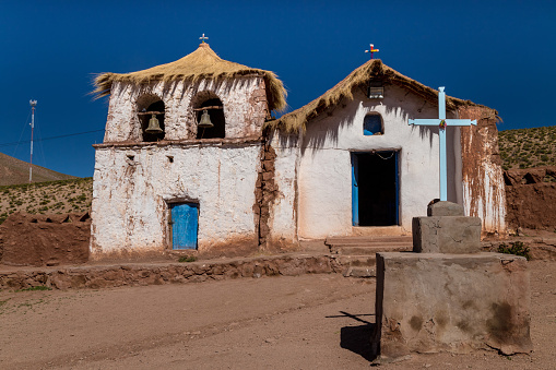 Typical church in a small Andean village. Machuca, Chile