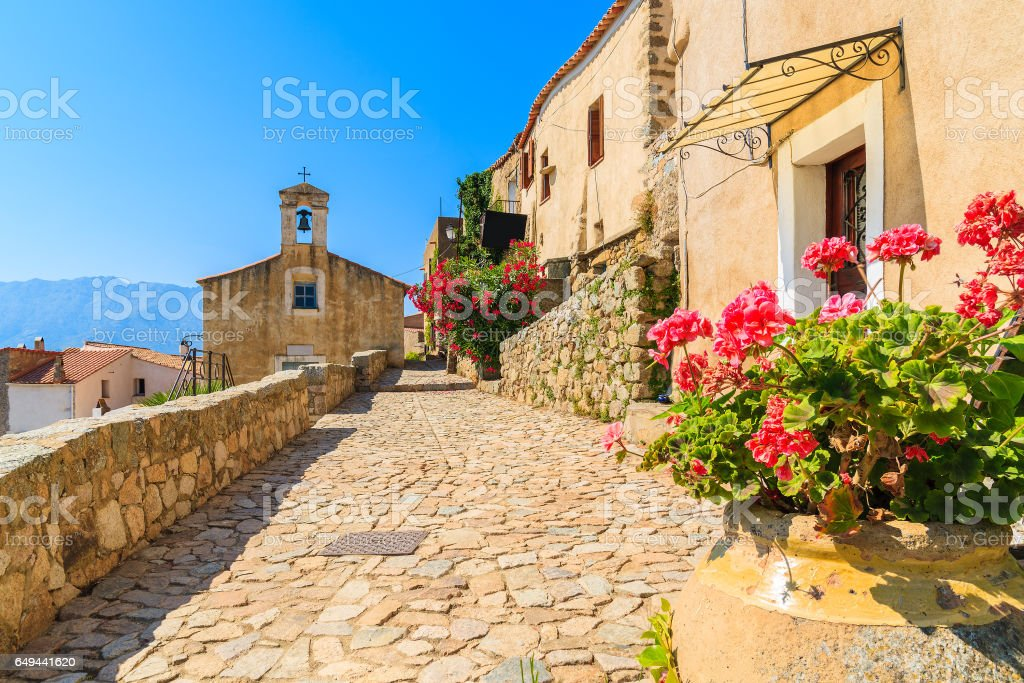 Typical church in small Corsican village of Sant' Antonino, Corsica, France stock photo